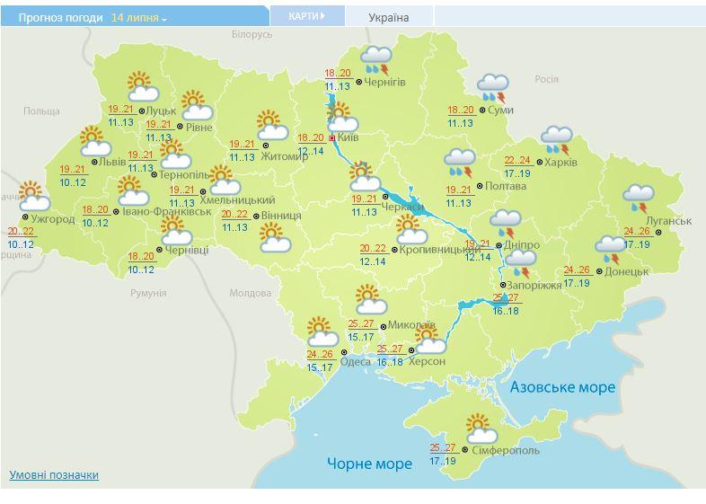 Град і шквали: синоптики оголосили прогноз погоди на 14 липня