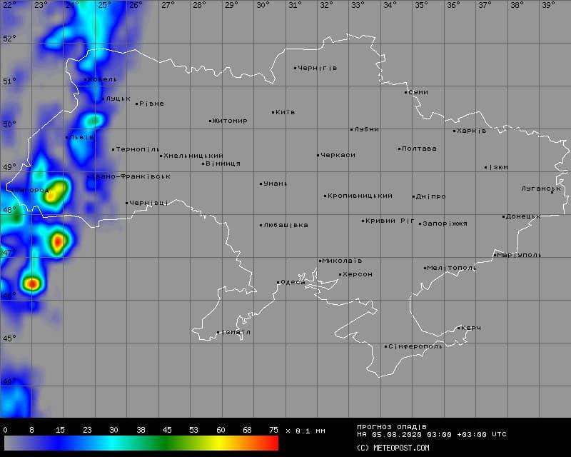 Погода в Украине 5 августа