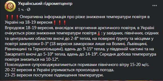 В Україну йдуть перші заморозки: синоптики озвучили прогноз