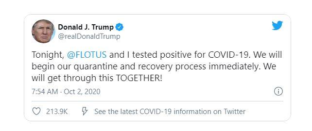 Дональд Трамп захворів COVID-19